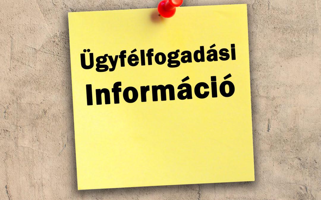 Tájékoztatás a Szári Közös Önkormányzati Hivatal ügyfélfogadásáról